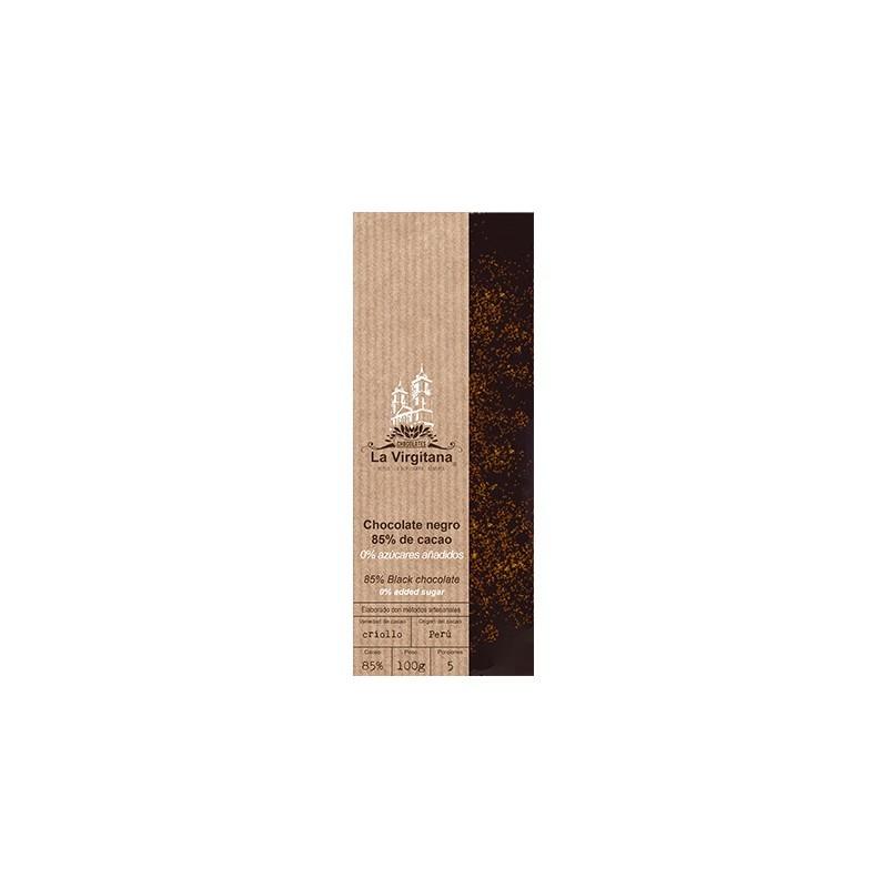 Chocolate negro ecológico con canela 0% azúcares añadidos La Virgitana