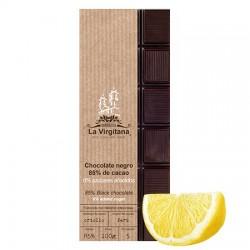 Chocolate negro ecológico con limón 0% azúcares añadidos La Virgitana