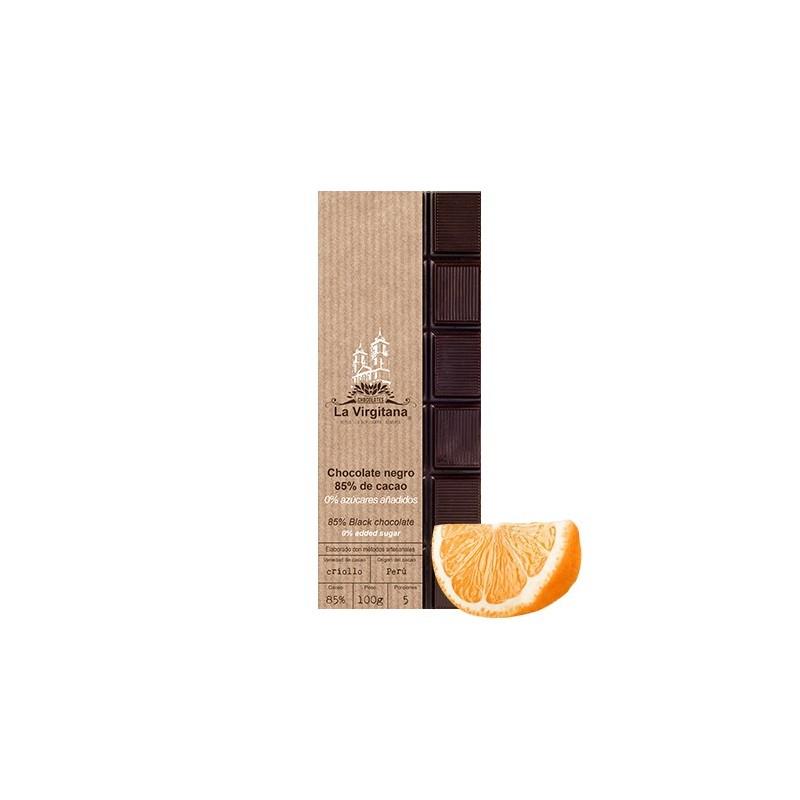 Chocolate negro ecológico con naranja 0% azúcares añadidos La Virgitana