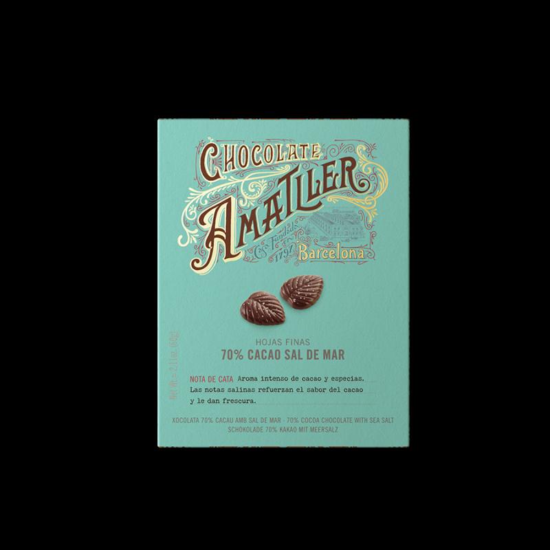 Hojas finas 70% cacao flor de sal I