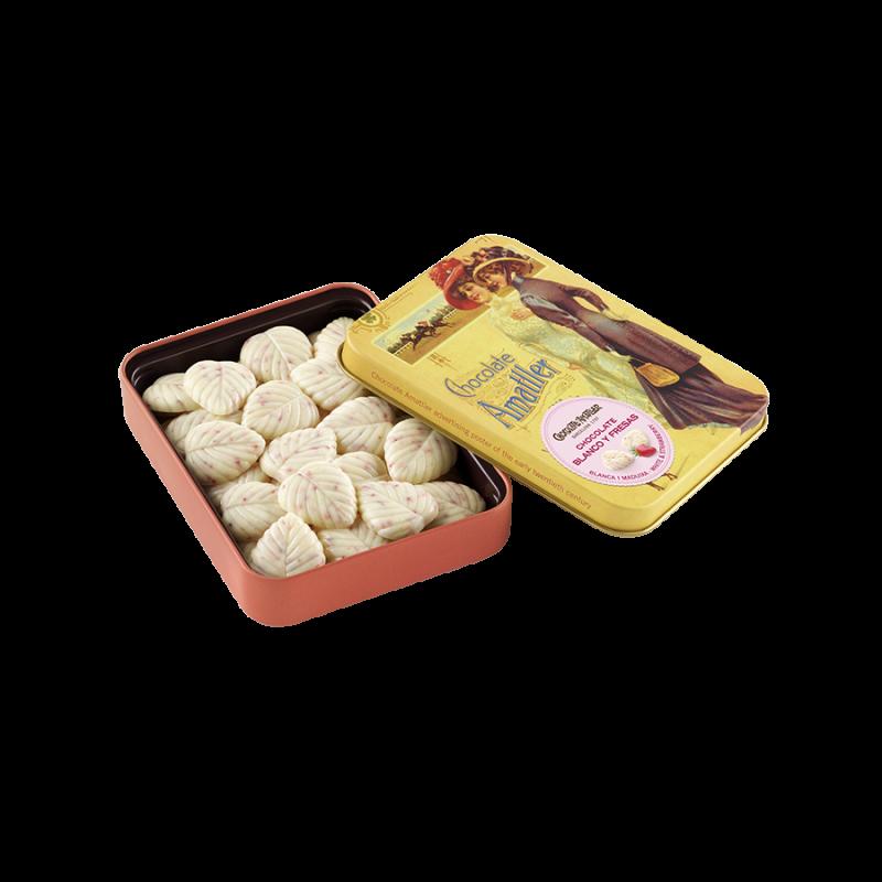 Hojas finas chocolate blanco y fresas lata maxi I