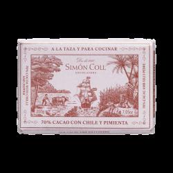 Chocolate a la taza 70% cacao con chile y pimienta Simon Coll