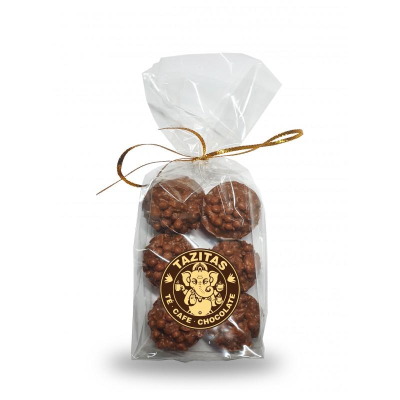 Rocas crunch chocolate con leche y galletas Tazitas