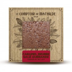 Chocolate con leche con trocitos de caramelo, mantequilla salada y flor de sal Le Comptoir de Mathilde
