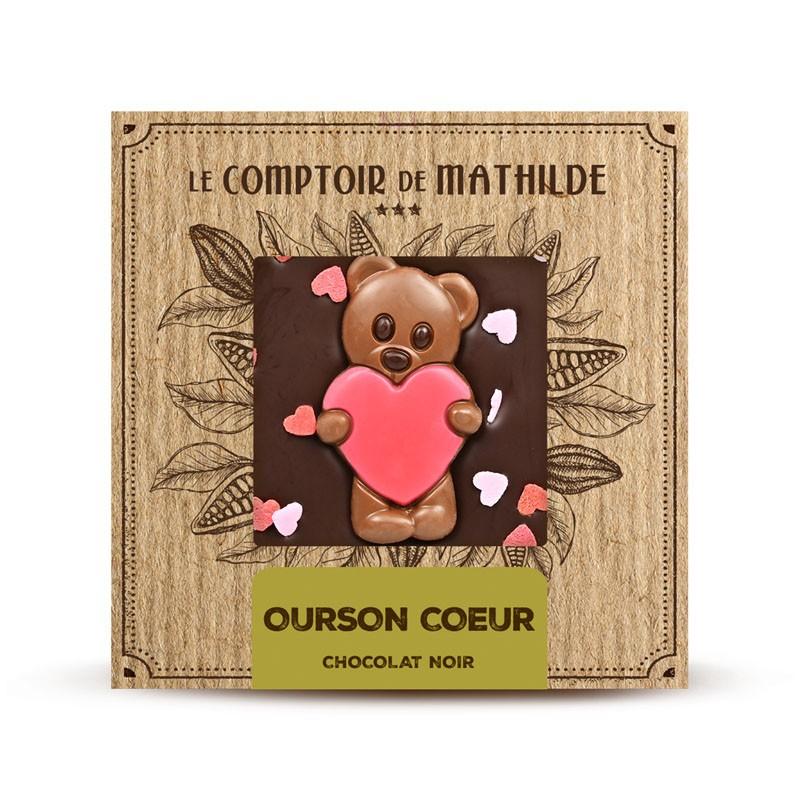 Chocolate negro con corazoncitos de azúcar Le Comptoir de Mathilde