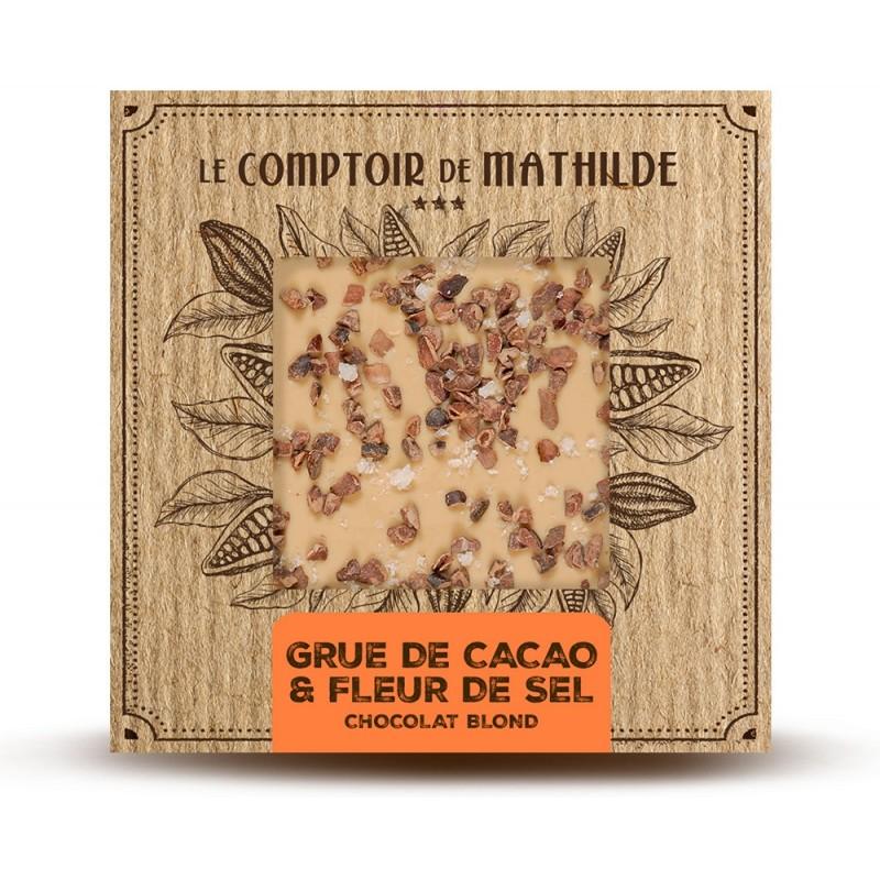 Chocolate blond con granos de cacao caramelizados y flor de sal Le Comptoir de Mathilde